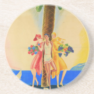Vintage Cannes French Travel Drink Coaster