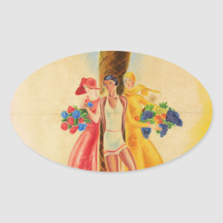 Vintage Cannes French Travel Oval Sticker