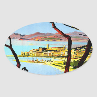 Vintage Cannes Travel Poster Oval Sticker