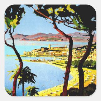 Vintage Cannes Travel Poster Square Sticker