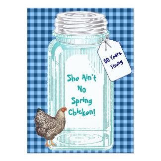 Vintage Canning Jar Blue Gingham Design Card