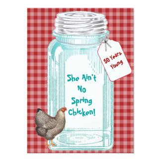 Vintage Canning Jar Red Gingham Design 5.5x7.5 Paper Invitation Card