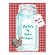 Vintage Canning Jar Red Gingham Design Card