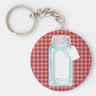 Vintage Canning Jar Red Gingham Keychains