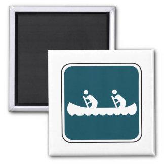 Vintage Canoe Sign 2 Inch Square Magnet