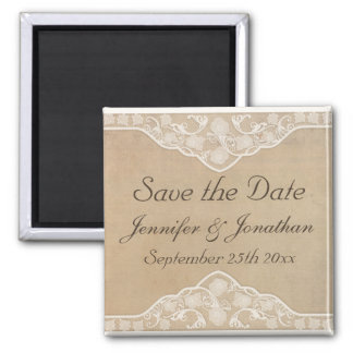 Vintage Canvas and Lace Look Save the Date Magnet