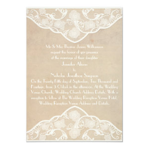 Vintage Canvas and Lace Style Wedding Invite
