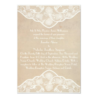 """Vintage Canvas and Lace Style Wedding Invite 5"""" X 7"""" Invitation Card"""
