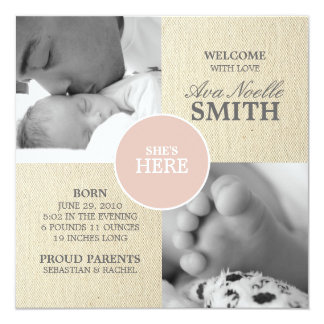 VINTAGE CANVAS BABY GIRL ANNOUNCEMENT