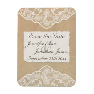 Vintage Canvas, Paper & Lace Look Save the Date Rectangular Photo Magnet