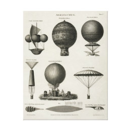 Vintage Canvas Print Hot Air Balloon Aeronautics