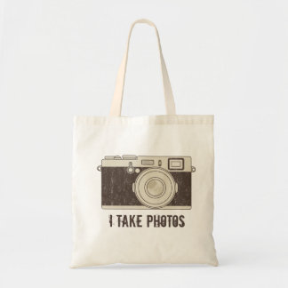 Vintage Canvas Tote Bag Camera - I TAKE PHOTOS