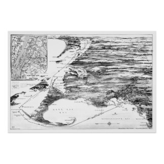 Vintage Cape Cod and NYC Steamboat Route Map BW Poster