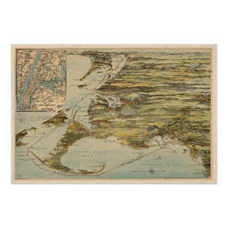 Vintage Cape Cod and NYC Steamboat Route Map Poster