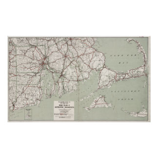 Vintage Cape Cod and Rhode Island Map (1917) Poster