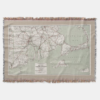 Vintage Cape Cod and Rhode Island Map (1917) Throw Blanket