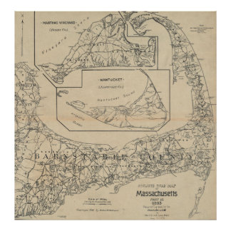 Vintage Cape Cod Cyclist Map (1893) Poster