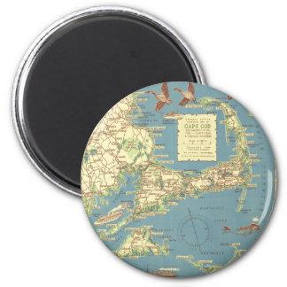 Vintage Cape Cod Map (1940) 2 Inch Round Magnet