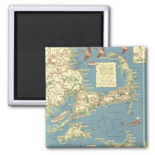 Vintage Cape Cod Map (1940) 2 Inch Square Magnet