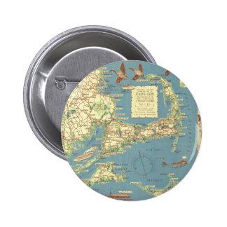 Vintage Cape Cod Map (1940) Pinback Button