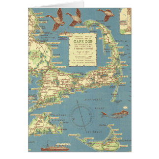 Vintage Cape Cod Map (1940) Card