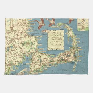Vintage Cape Cod Map (1940) Hand Towel