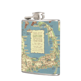 Vintage Cape Cod Map (1940) Hip Flasks