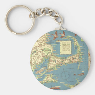 Vintage Cape Cod Map (1940) Keychain
