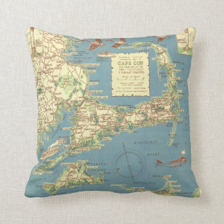 Vintage Cape Cod Map (1940) Throw Pillow