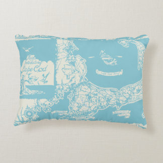 Vintage Cape Cod Map Accent Pillow