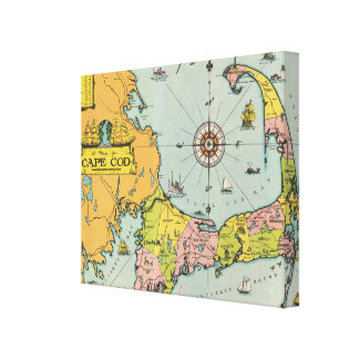 Vintage Cape Cod Map Gallery Wrapped Canvas
