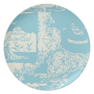 Vintage Cape Cod Map Dinner Plate