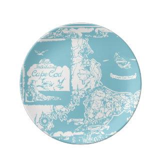 Vintage Cape Cod Map Dinner Plate