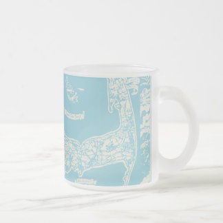 Vintage Cape Cod Map Frosted Glass Coffee Mug
