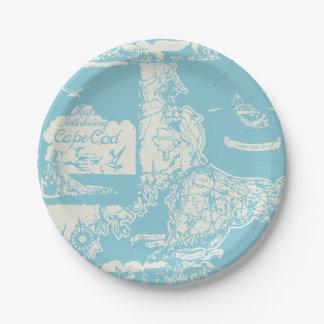 Vintage Cape Cod Map Paper Plate
