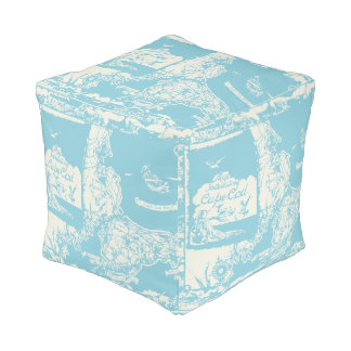 Vintage Cape Cod Map Pouf