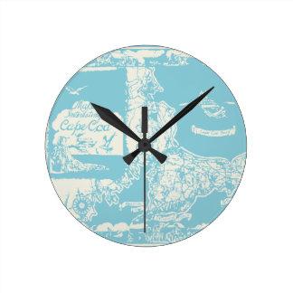 Vintage Cape Cod Map Round Clock