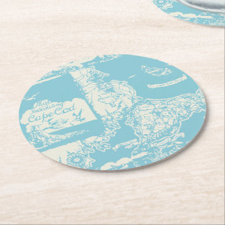 Vintage Cape Cod Map Round Paper Coaster
