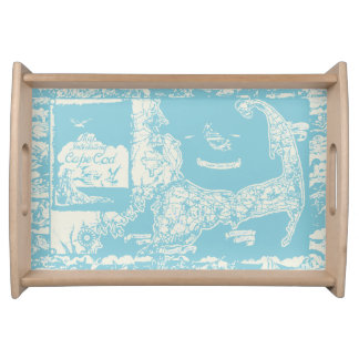 Vintage Cape Cod Map Serving Tray