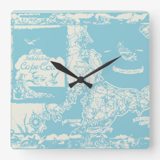 Vintage Cape Cod Map Square Wall Clock