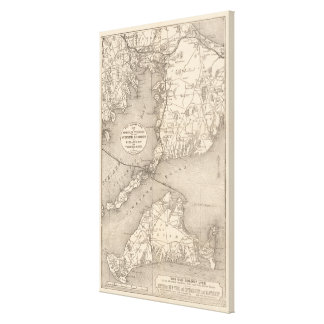 Vintage Cape Cod Old Colony Line Map (1888) Canvas Print