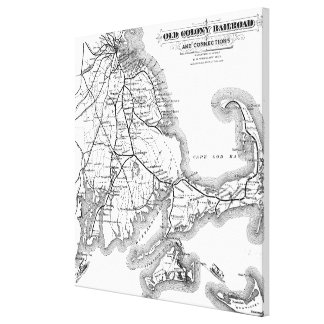 Vintage Cape Cod Old Colony Railroad Map (1875) Canvas Print