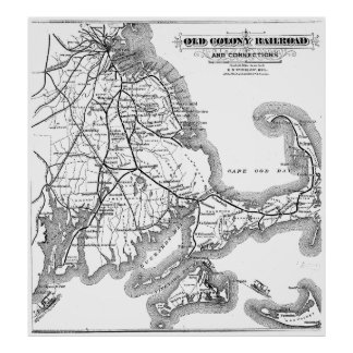 Vintage Cape Cod Old Colony Railroad Map (1875) Poster