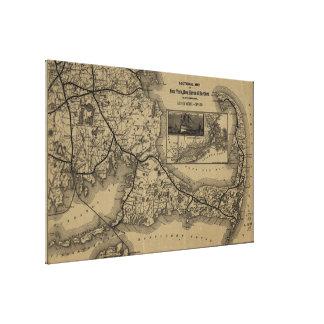 Vintage Cape Cod Railroad Map (1893) Canvas Print