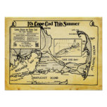 Vintage Cape Cod Travel Ad With Map Print