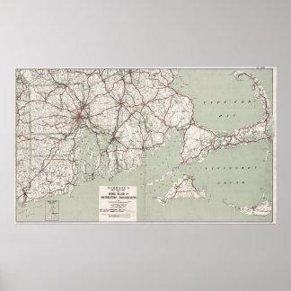 Vintage Cape Cod y mapa de Rhode Island (1917) Póster