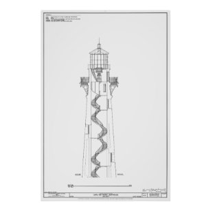 Cape hatteras lighthouse blueprint art framed artwork zazzle vintage cape hatteras lighthouse blueprint 2 poster malvernweather Images