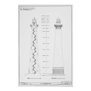 Cape hatteras lighthouse blueprint art wall dcor zazzle vintage cape hatteras lighthouse blueprint poster malvernweather Image collections