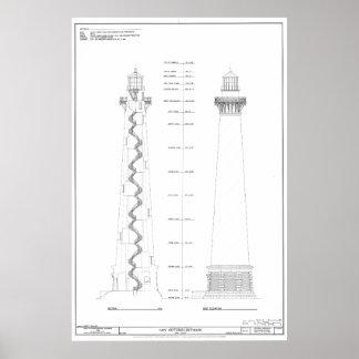 Vintage Cape Hatteras Lighthouse Blueprint Poster