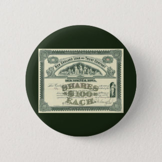 Vintage Capital Stock Certificate Business Finance Button